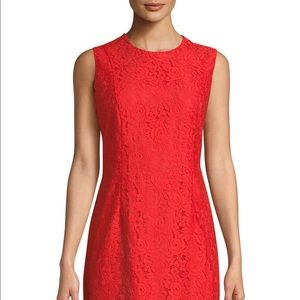 Sleeveless Tailored Lace Sheath Dress, Red Size 8